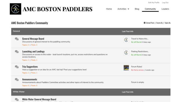 AMC Boston Paddlers Community Forums